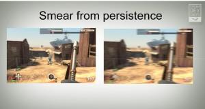 Rechts wird das Schmieren verdeutlicht, welches durch zulange leuchtende Pixel in der Bewegung auftritt. [Quelle: Michael Abrash / Valve]