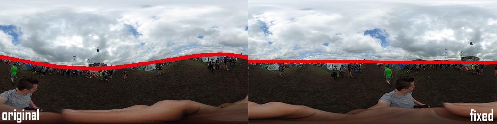 Links, das original Foto. An der Wellenform erkennt man, dass der Horizont schief ist. Rechts das mit Hugin korrigierte Panorama